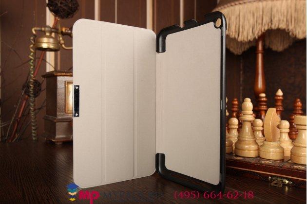 """Фирменный умный чехол-книжка самый тонкий в мире для Asus Memo Pad 8 ME181CX model K011 """"Il Sottile"""" черный кожаный Италия"""