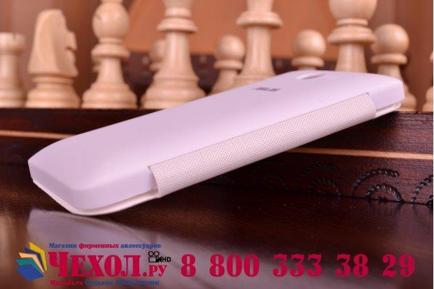 Фирменный оригинальный чехол-футляр с окошком для входящих для ASUS Zenfone 4 A400CG белый пластиковый