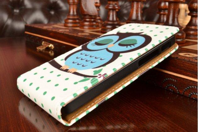 """Фирменный вертикальный откидной чехол-флип для Asus Zenfone 4 4.0 A400CG """"тематика Сова"""""""