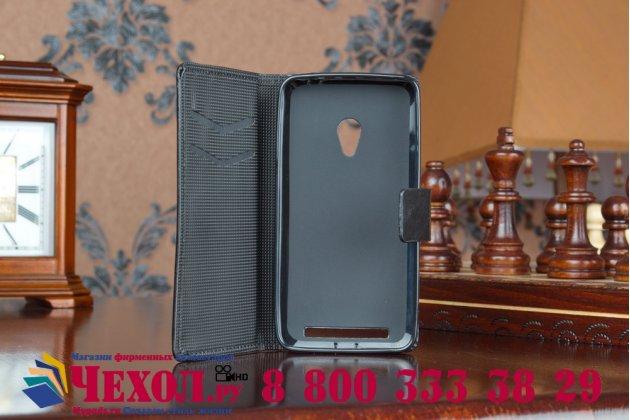 """Фирменный чехол-книжка из качественной импортной кожи с мульти-подставкой застёжкой и визитницей для Асус Зенфон 4 Четыре 4.5"""" А450ЦГ черный"""