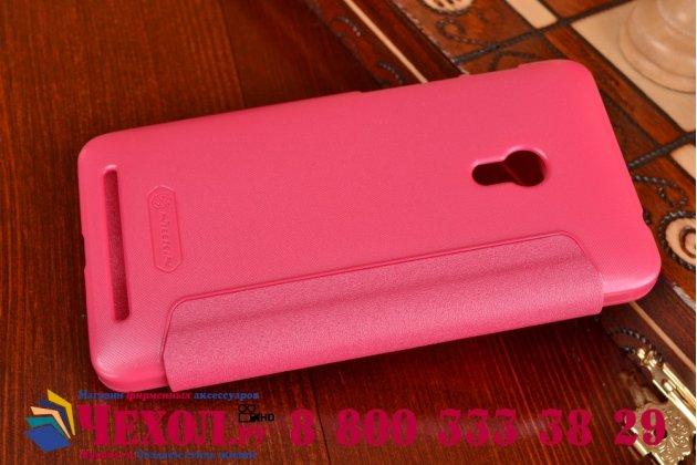 Фирменный оригинальный чехол-книжка для ASUS Zenfone 4 4.5 A450CG розовый кожаный с окошком для входящих вызовов