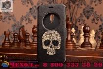 Фирменный чехол-книжка с безумно красивым расписным рисунком черепа на ASUS Zenfone 5 A501CG/A500KL с окошком для звонков