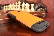 Противоударный усиленный ударопрочный фирменный чехол-бампер-пенал для ASUS Zenfone 5 A501CG/A500KL  оранжевый