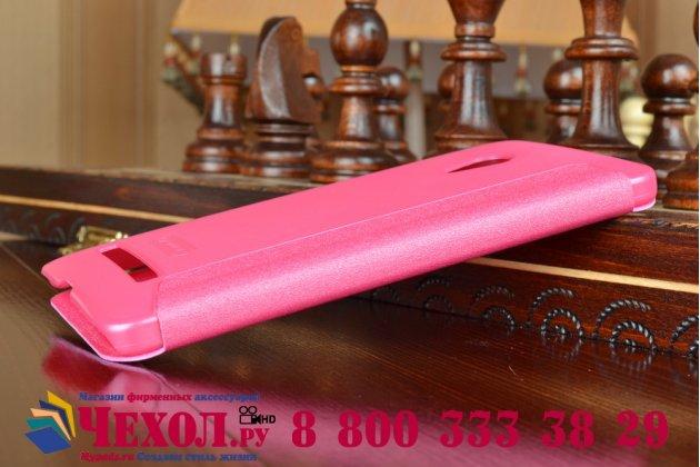 Фирменный оригинальный чехол-книжка для ASUS Zenfone 5 A501CG/A500KL розовый кожаный с окошком для входящих вызовов
