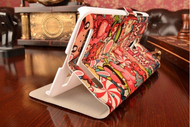 Фирменный чехол-книжка с безумно красивым расписным кислотным-мульти-рисунком на ASUS Zenfone 6 A600CG/A601CG с окошком для звонков