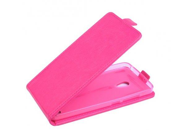 """Фирменный оригинальный вертикальный откидной чехол-флип для ASUS Zenfone 6 A600CG/A601CG розовый из качественной импортной кожи """"Prestige"""" Италия"""