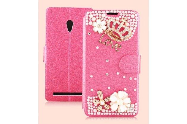 Фирменный роскошный чехол-книжка безумно красивый декорированный бусинками и кристаликами на ASUS Zenfone 6 A600CG/A601CG