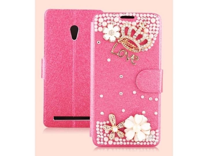 Фирменный роскошный чехол-книжка безумно красивый декорированный бусинками и кристаликами на ASUS Zenfone 6 A6..