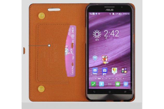 Фирменный чехол-книжка из качественной водоотталкивающей импортной кожи на жёсткой металлической основе для ASUS Zenfone 6 A600CG/A601CG коричневый