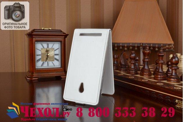 """Фирменный оригинальный вертикальный откидной чехол-флип для ASUS Zenfone 6 A600CG/A601CG белый из качественной импортной кожи """"Prestige"""" Италия"""