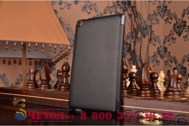 """Фирменный умный чехол самый тонкий в мире для планшета Asus ZenPad 7.0 Z370C/Z370CG """"Il Sottile"""" черный кожаный"""