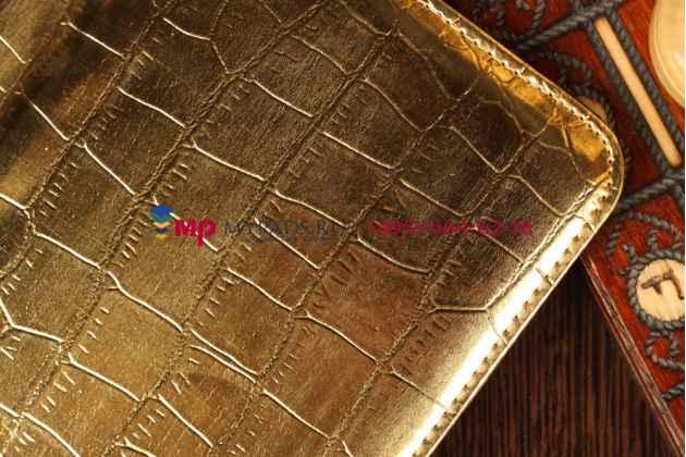 Фирменный чехол для Asus Google Nexus 7 1-го поколения 2012 кожа крокодила золотой