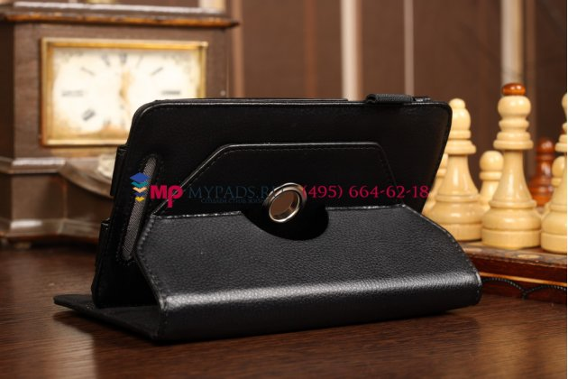 Фирменный чехол-обложка для Asus Google Nexus 7 1-го поколения 2012 поворотный черный кожаный
