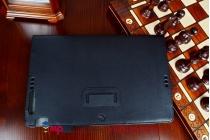 """Фирменный чехол бизнес класса для Asus Transformer Book T200TA с визитницей и держателем для руки черный натуральная кожа """"Prestige"""" Италия"""
