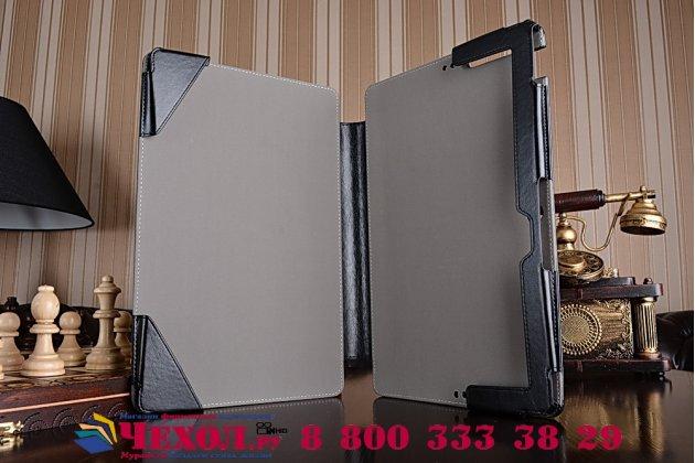Фирменный чехол для Asus Transformer Book T200TA Dock Keyboard с отделением под клавиатуру черный кожаный