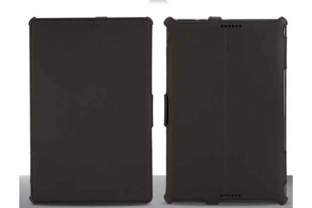 """Фирменный чехол открытого типа без рамки вокруг экрана с мульти-подставкой для Asus Transformer Book T100TA черный кожаный """"Deluxe"""""""
