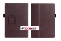 """Фирменный чехол бизнес класса для ASUS ZenPad 10 Z300CG/Z300CL/Z300C/Z300M с визитницей и держателем для руки коричневый натуральная кожа """"Prestige"""" Италия"""