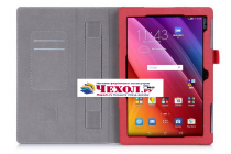 """Фирменный чехол бизнес класса для ASUS ZenPad 10 Z300CG/Z300CL/Z300C/Z300M с визитницей и держателем для руки красный натуральная кожа """"Prestige"""" Италия"""