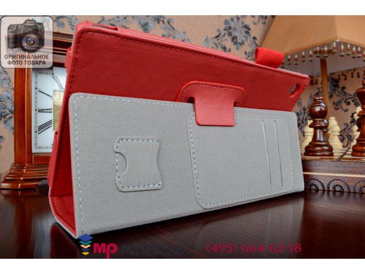 Фирменный чехол бизнес класса для Asus Memo Pad 7 ME572C/ME572CL K00R с визитницей и держателем для руки красн..