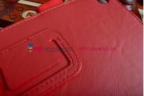"""Фирменный чехол бизнес класса для Asus Memo Pad 7 ME572C/ME572CL K00R с визитницей и держателем для руки красный натуральная кожа """"Prestige"""" Италия"""