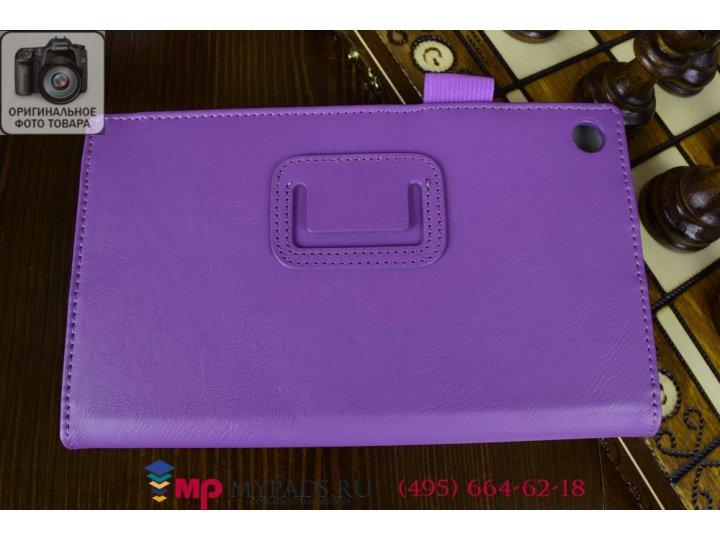 Фирменный чехол бизнес класса для Asus Memo Pad 7 ME572 K00R с визитницей и держателем для руки фиолетовый нат..