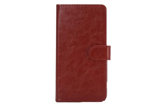 """Фирменный чехол-книжка для  BQ BQS-5515 Wide 4.5"""" с визитницей и мультиподставкой коричневый кожаный"""