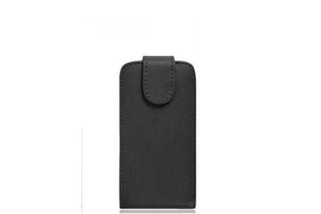 """Фирменный оригинальный вертикальный откидной чехол-флип для BQ BQS-5515 Wide 4.5""""  черный кожаный"""