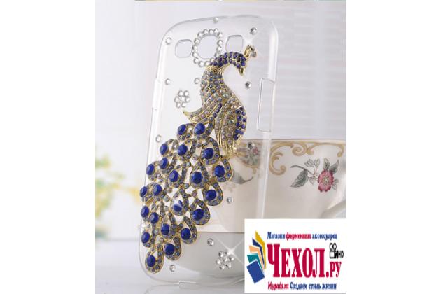 Фирменная роскошная элитная пластиковая задняя панель-накладка украшенная стразами кристалликами и декорированная элементами для BlackBerry Leap Z20 тематика Жар-Птица