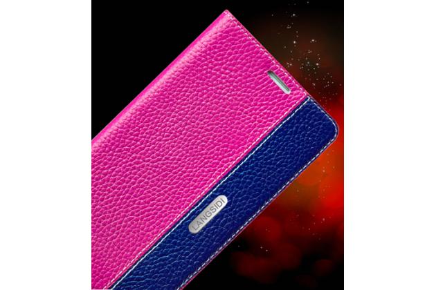 Фирменный премиальный чехол бизнес класса для BlackBerry Leap Z20 из качественной импортной кожи розово-синий