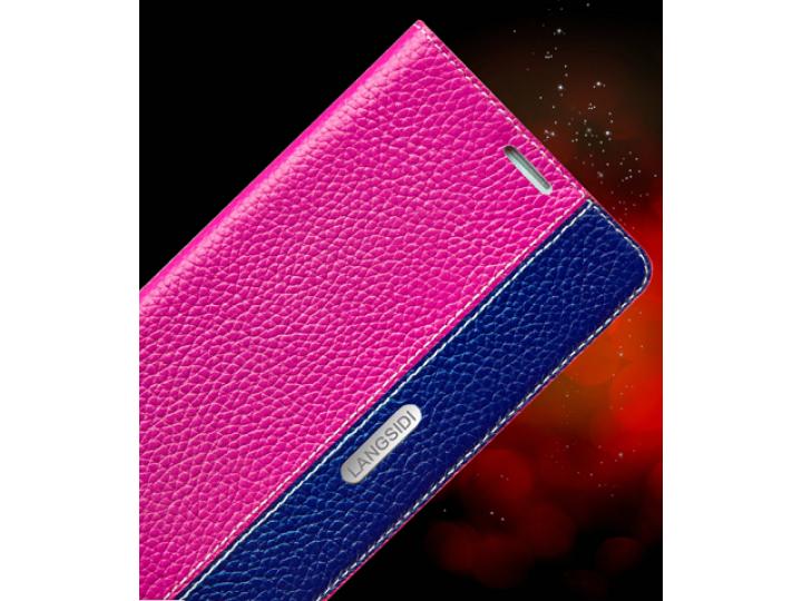 Фирменный премиальный чехол бизнес класса для BlackBerry Leap Z20 из качественной импортной кожи розово-синий..