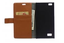 Фирменный чехол-книжка из качественной импортной кожи с мульти-подставкой застёжкой и визитницей для Блэкберри Лип З20 коричневый