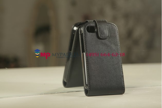 Фирменный оригинальный вертикальный откидной чехол-флип для Blackberry Q10 черный кожаный