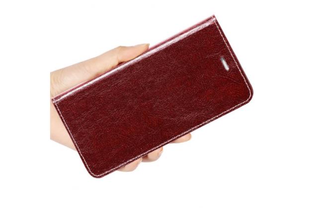 Фирменный чехол-книжка из качественной импортной кожи с мульти-подставкой застёжкой и визитницей для Блэкберри Кью10 коричневый