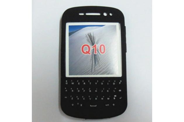 Фирменный оригинальный силиконовый  чехол-пенал для Blackberry Q10 с 3D клавиатурой и защитой кнопок от пыли и воды черный