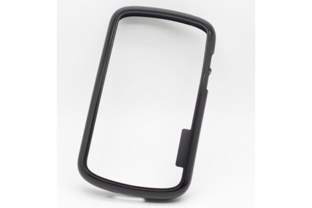Фирменный оригинальный ультра-тонкий чехол-бампер из мягкого силикона для Blackberry Q10 черный
