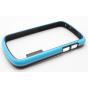 Фирменный оригинальный ультра-тонкий чехол-бампер из мягкого силикона для Blackberry Q10 голубой..