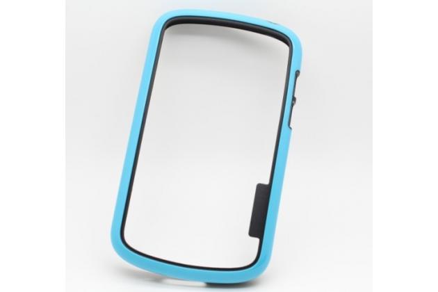 Фирменный оригинальный ультра-тонкий чехол-бампер из мягкого силикона для Blackberry Q10 голубой