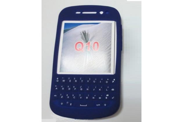 Фирменный оригинальный силиконовый  чехол-пенал для Blackberry Q10 с 3D клавиатурой и защитой кнопок от пыли и воды синий