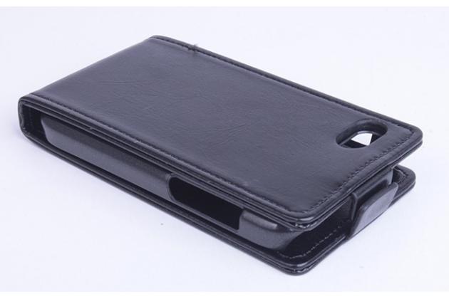 """Фирменный оригинальный вертикальный откидной чехол-флип с визитницей для Blackberry Q10 из натуральной кожи """"Prestige"""" Италия"""