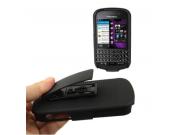 Противоударный усиленный ударопрочный фирменный чехол-бампер-пенал с клипсой на пояс для Blackberry Q10 черный..