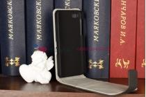 Фирменный оригинальный вертикальный откидной чехол-флип  для Blackberry Z10 черный кожаный