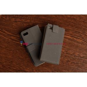 Фирменный оригинальный чехол-книжка для Blackberry Z10 черный кожаный