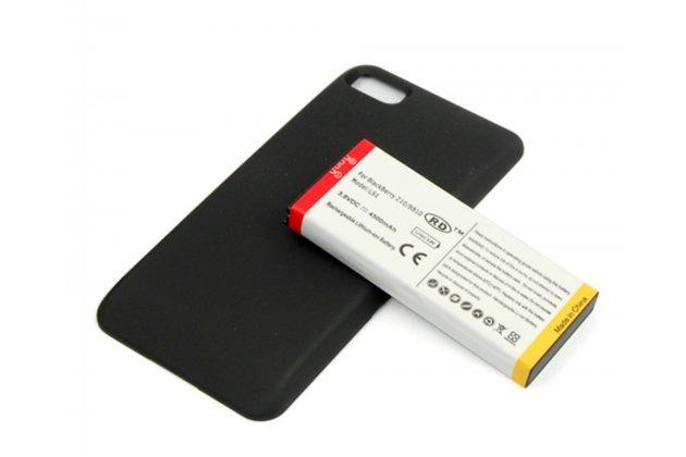 Усиленная батарея-аккумулятор большой повышенной ёмкости 4500mAh для телефона Blackberry Z10 / BlackBerry Porsche Design P'9982 + гарантия + задняя крышка в комплекте черная