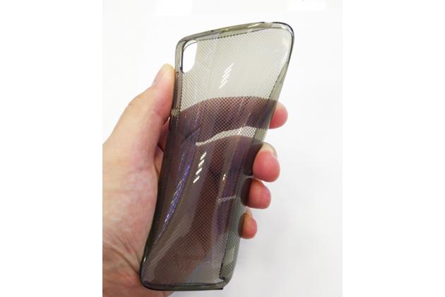 Фирменная оригинальная ультра-тонкая полимерная из мягкого качественного силикона задняя панель-чехол-накладка с логотипом в фирменной упаковке для BlackBerry DTEK50 серая