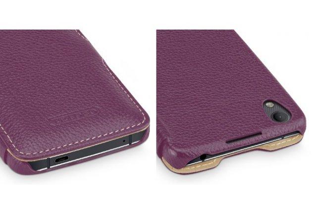 Фирменный умный премиальный элитный чехол-книжка из качественной импортной кожи с функцией засыпания для BlackBerry Neon/ BlackBerry DTEK50 фиолетовый