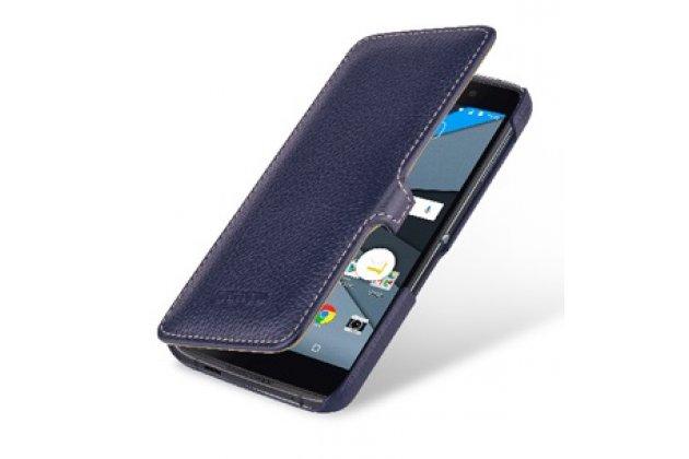 Фирменный умный премиальный элитный чехол-книжка из качественной импортной кожи с функцией засыпания для BlackBerry Neon/ BlackBerry DTEK50 синий