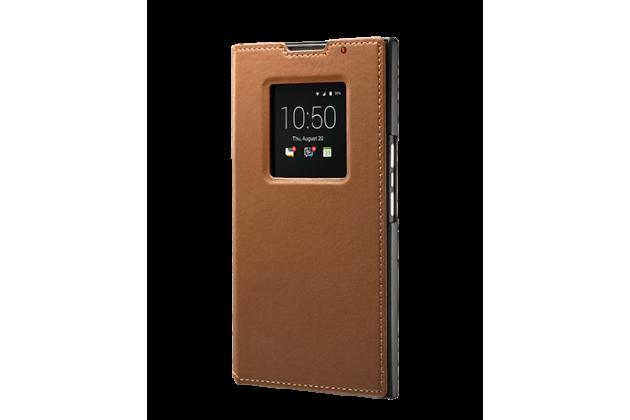 Фирменный оригинальный подлинный чехол с логотипом для BlackBerry Priv Smart Wake коричневый