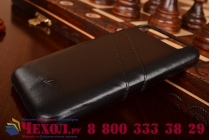 Фирменная роскошная элитная премиальная задняя панель-крышка для BlackBerry Q20 Classic из качественной кожи буйвола с визитницей черная