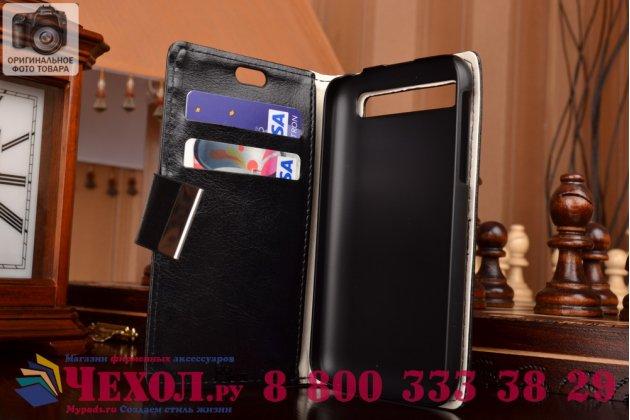 Фирменный чехол-книжка из качественной импортной кожи с подставкой застёжкой и визитницей для BlackBerry Q20 Classic черный