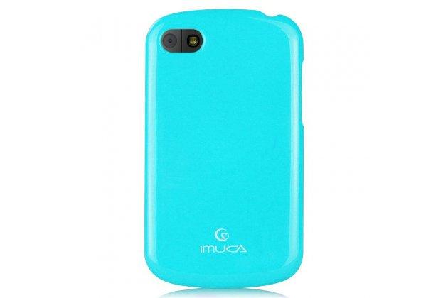 Фирменная ультра-тонкая полимерная из мягкого качественного силикона задняя панель-чехол-накладка для  Blackberry Q10 голубая
